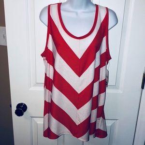 Women's Long Dressy Mitered Chevron Top Shirt